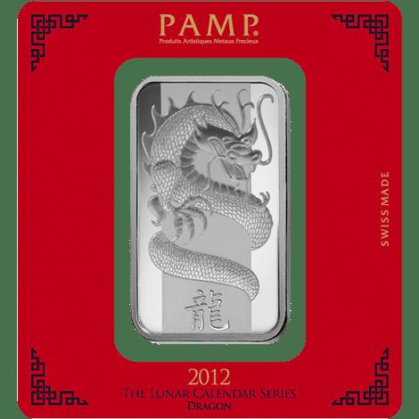 Lunar Calendar Dragon 100g silver with cover